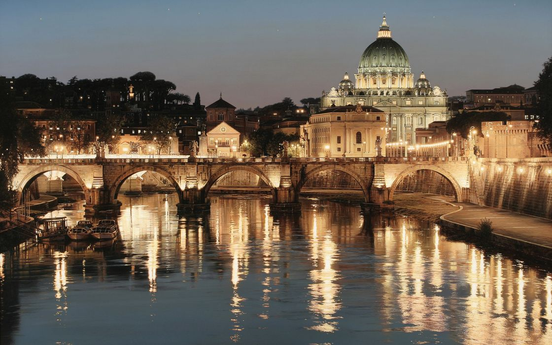 San Pietro Tiber St Peter Rome italy world cities architecture building cathedrals church buildings bridges rivers water reflection glisten shine night lights sky scenic bright wallpaper