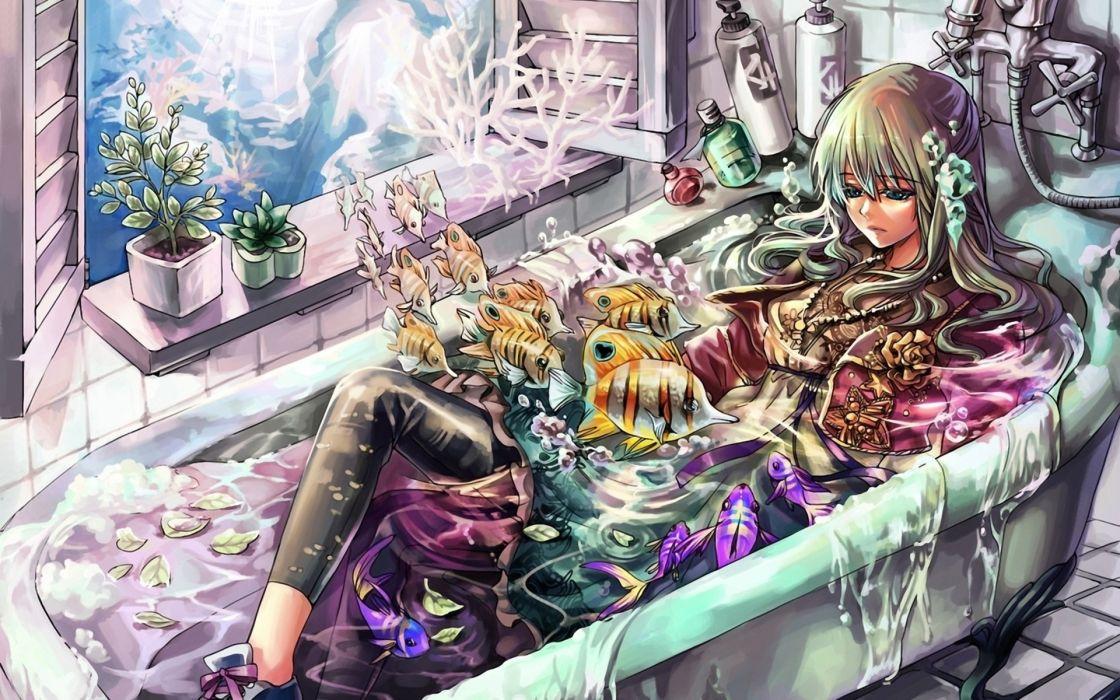 jeya anime manga original detail art artistic color dream surreal fantasy window water wimen females girls blondes animals fishes tropical sealife life bath room psychedelic mood wallpaper