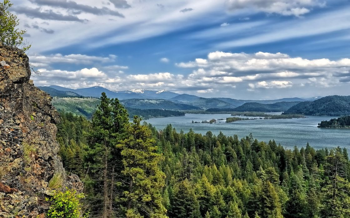 lake coeur dalene nature landscapes mountains trees forest sky clouds scenic cliff wallpaper