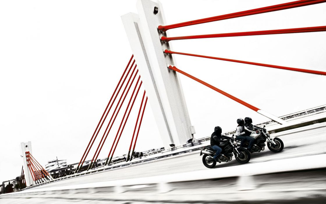 Ducati vehicles motorcycles motorbikes bike architecture bridges roads bright contrast people men males women females girls traffic wallpaper