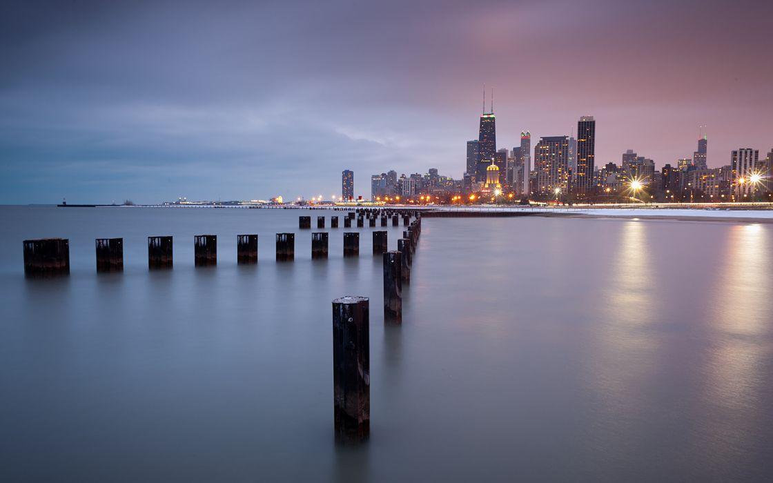 Illinois Chicago world cities architecture buildings skyscraper window signs night lights post lakes water skyline cityscape reflection wallpaper