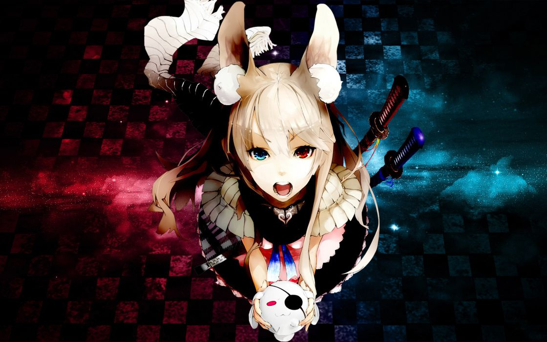 NIL Mangaka 1920x1200 Wallpaper Blue Eyes Checkered Checkered Background Eyepatch Female Heterochromia Open Mouth Red Eyes Solo Stuffed Rabbit Stuffed Toy Sword Weapons Widescreen 16:10 Ratio Pixiv wallpaper
