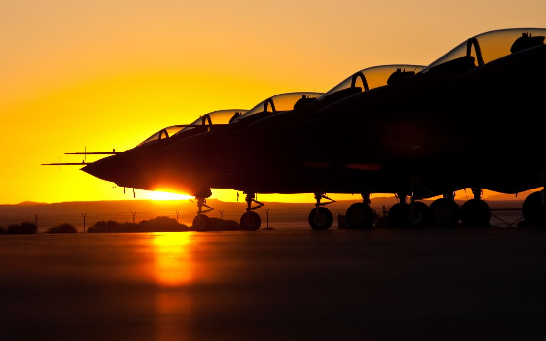 vehicles aircraft airplanes planes jet fighter weapons wheels canopy sunset sunrise sun color landscapes wallpaper