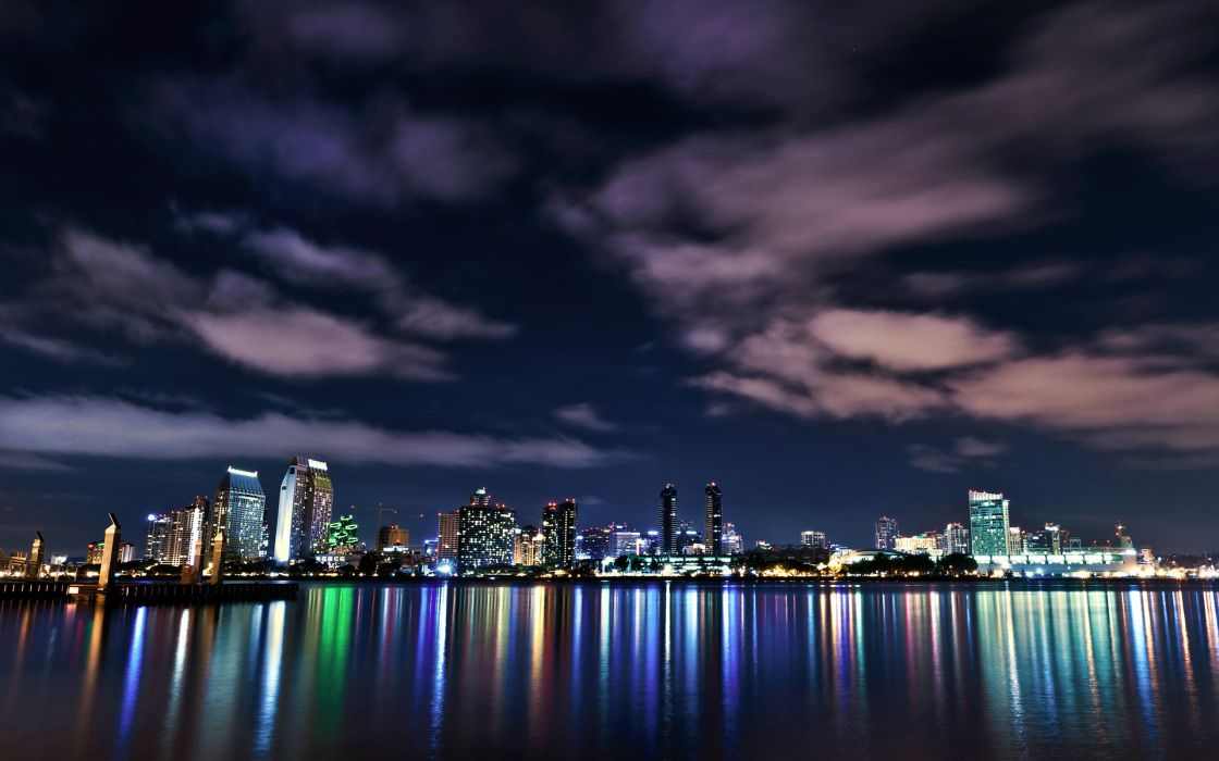 san diego world architecture cities buildings skyscraper night lights window signs neon sky clouds hdr color water bay harbor sound reflection skyline cityscape wallpaper