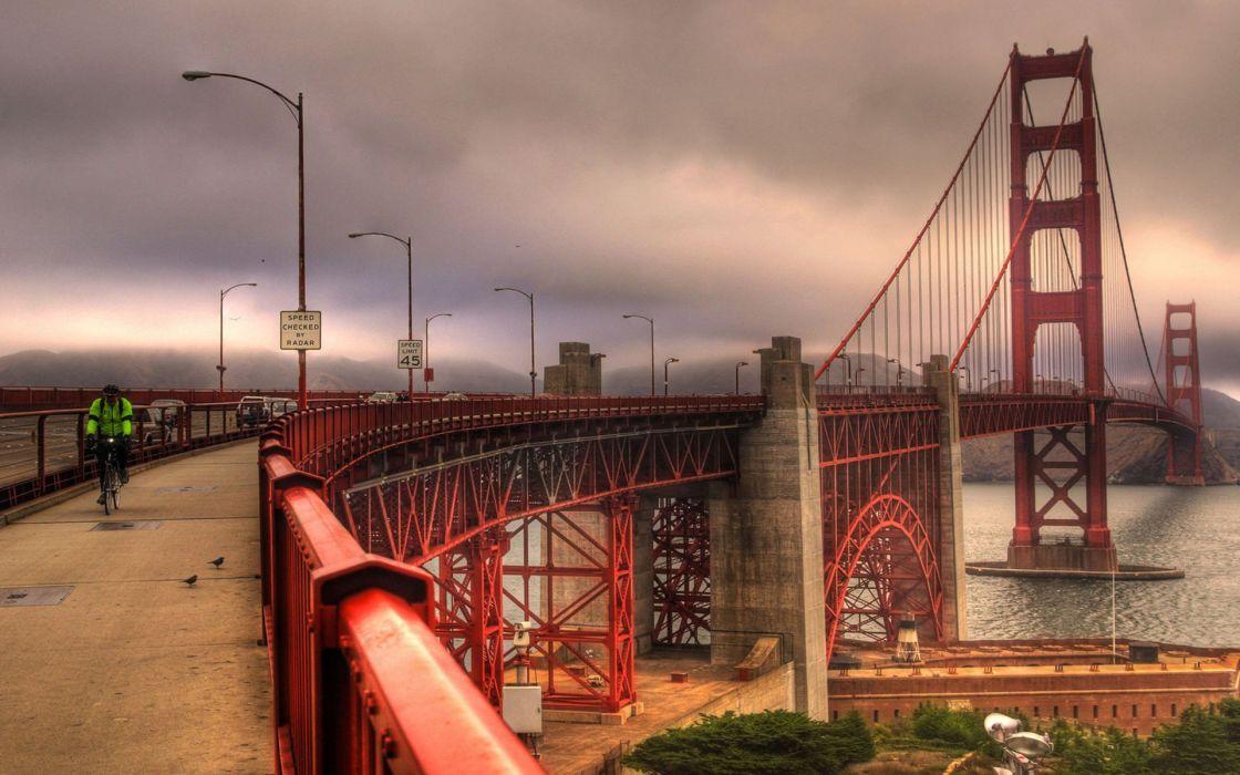 Golden Gate Bridge San Francisco world cities architecture bridges people bicycle hdr bay sound wayet sky clouds structure wallpaper