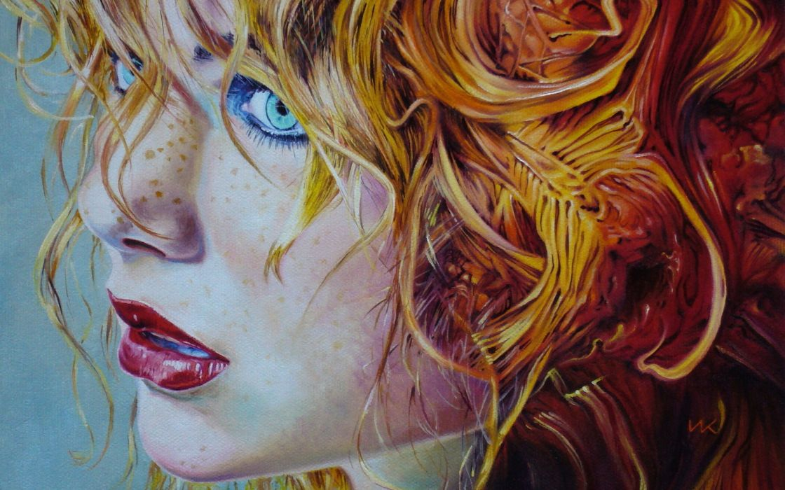 art artistic paintings women females girls redhead face eyes lips expression wallpaper