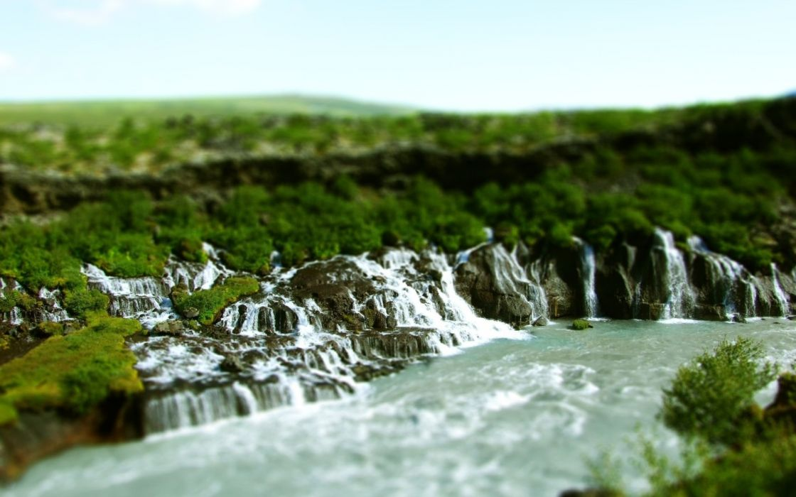 nature landscapes waterfall jungle trees forest green contrast rivers sky tilt shift scenic wallpaper