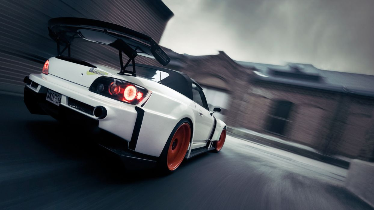 honda vehicles cars auto tuning wings racing race wheels stance lights white architecture buildings speed motion wallpaper