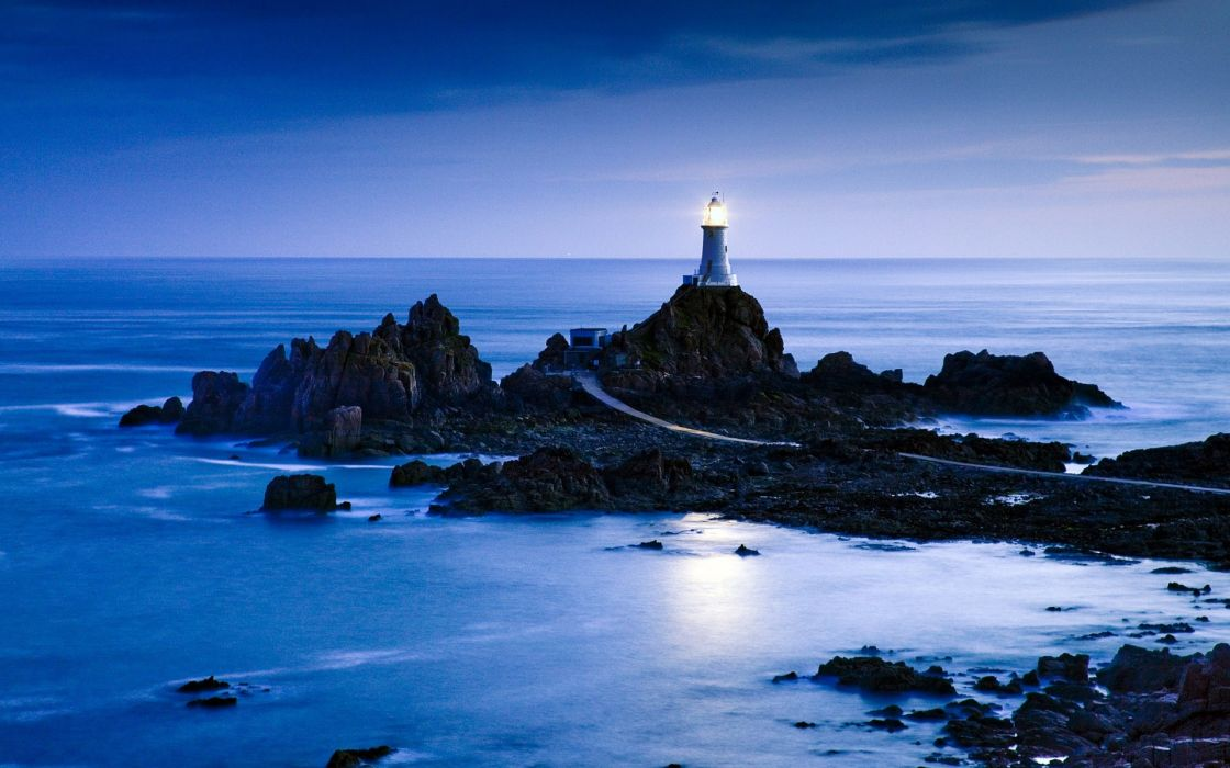 world architecture buildings lamp light lighthouse roads street sidewalk path nature landscapes seascape scapes sea ocean water reflection beaches stone rock waves coast shore scenic night moonlight sky clouds wallpaper