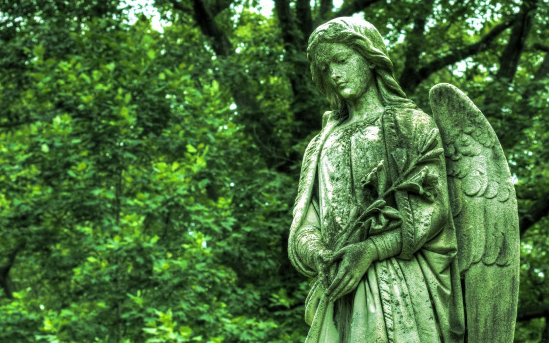 Cemetery statue bronze angel wings grave green monument gothic religion wallpaper
