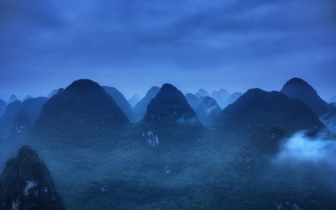 nature landscapes fog mist haze clouds jungle trees forest wallpaper