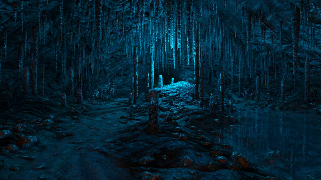 Dear Esther video games nature landscapes cavern caves stalagmite stalactite detailpsychedelic blue path trail rocks fantasy wallpaper