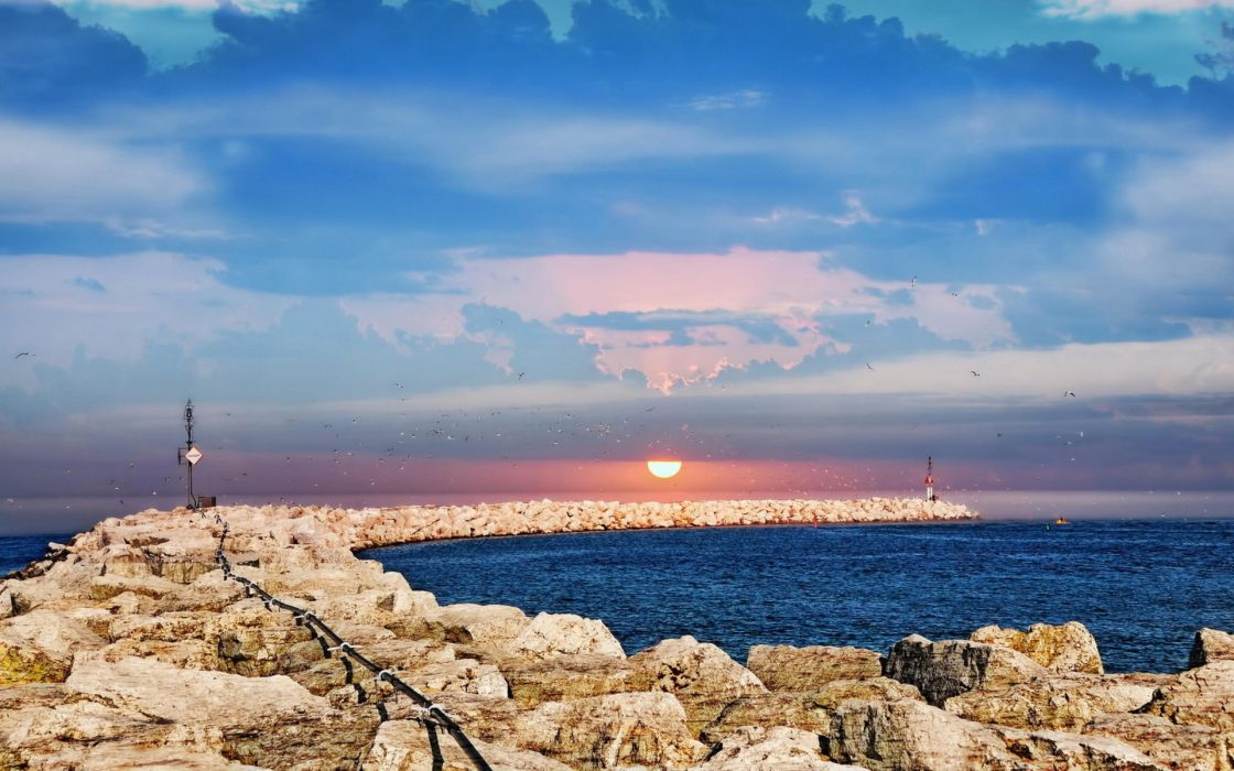 Sunrise Lake Michigan nature lakes water sea ocean jetty stone rocks pier dock architecture signs sky clouds sunset wallpaper