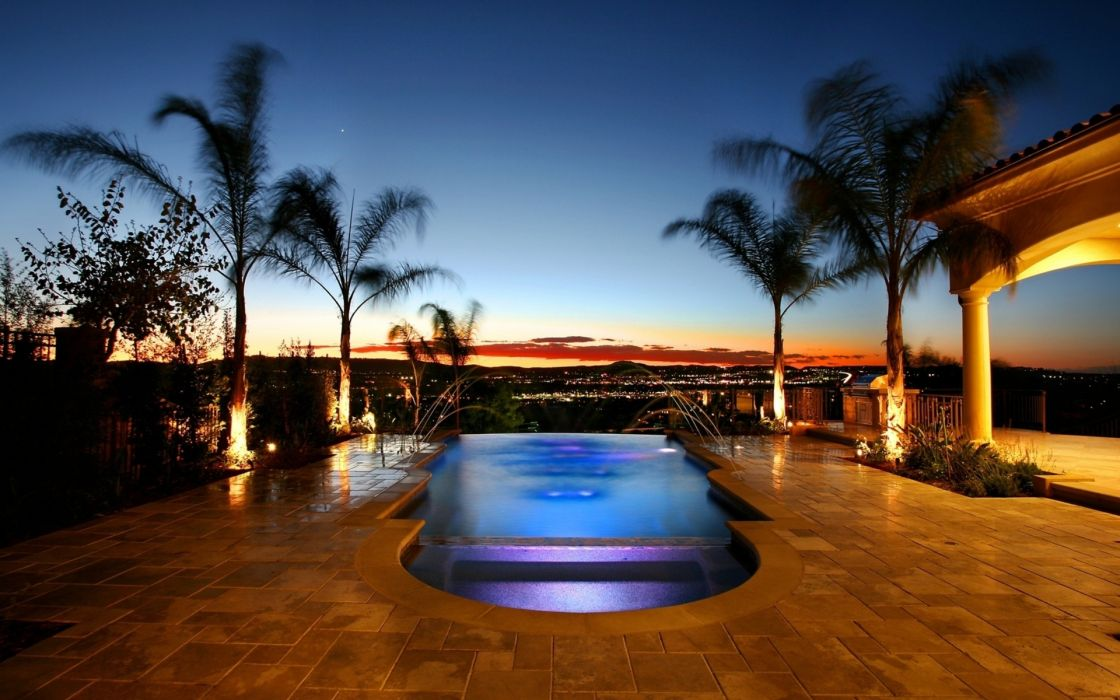 Mansion with pool at night  World architecture villa houses mansion pool water scenic design ...