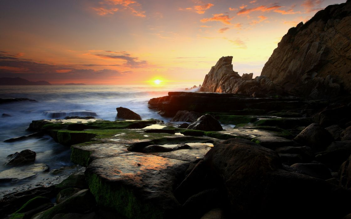 nature landscapes seascape scape shore coast cliff hills ocean sea waves sky clouds sunrise sunset sun color scenic wallpaper