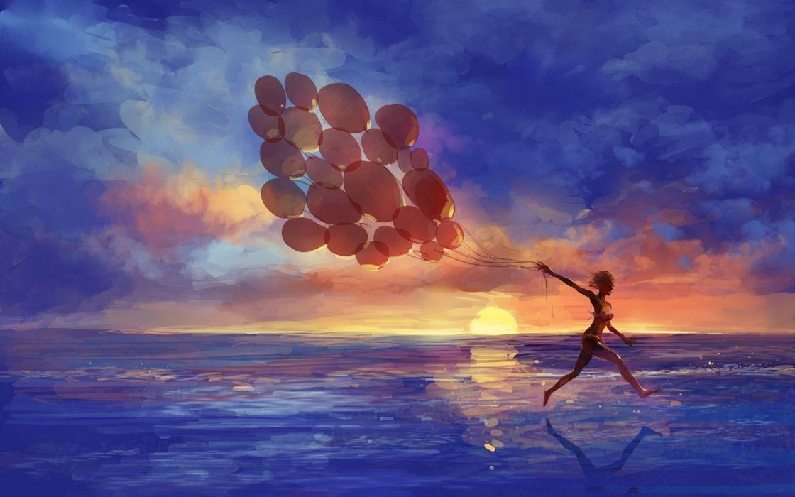 art artistic paintings mood emotion happy fun run motion balloon seascape beaches sea ocean waves sky clouds color women female girl swimwear wallpaper