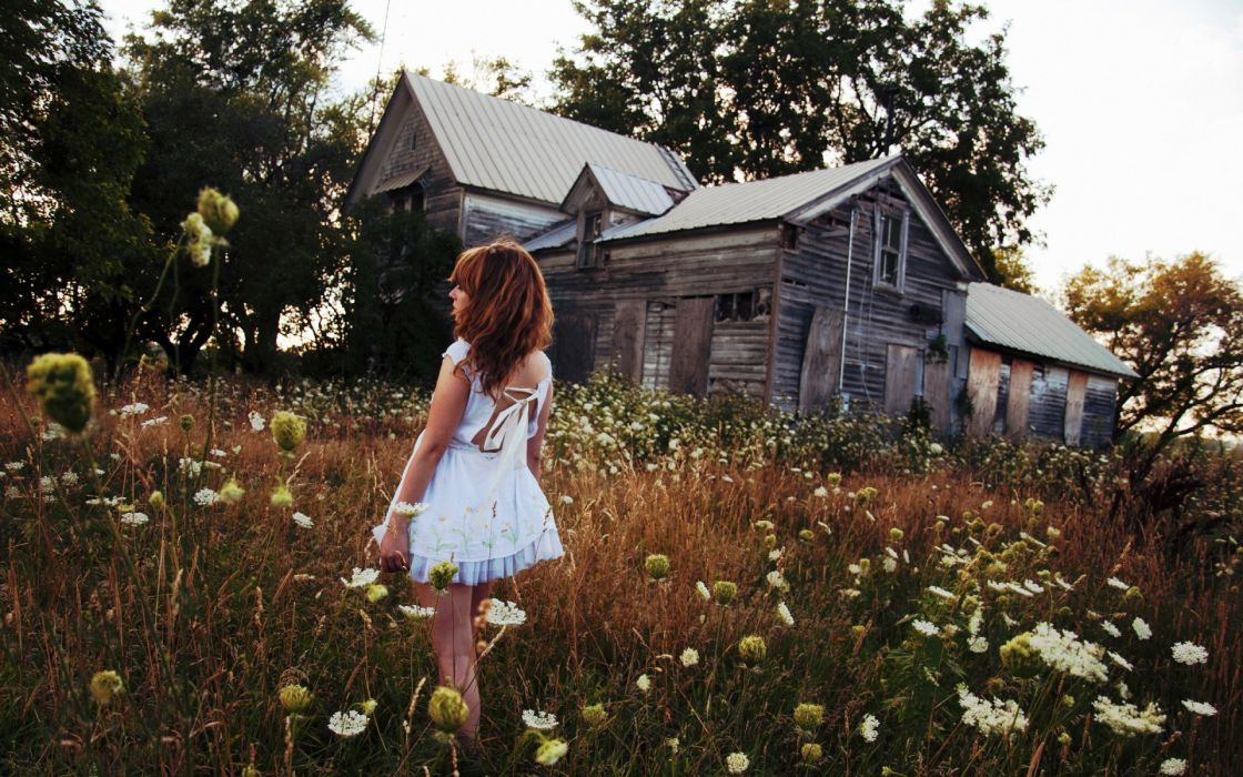 architecture buildings house nature fields grass ruin decay mood flowers grass trees women females girls babes sexy sensual dress cosplay redhead wallpaper