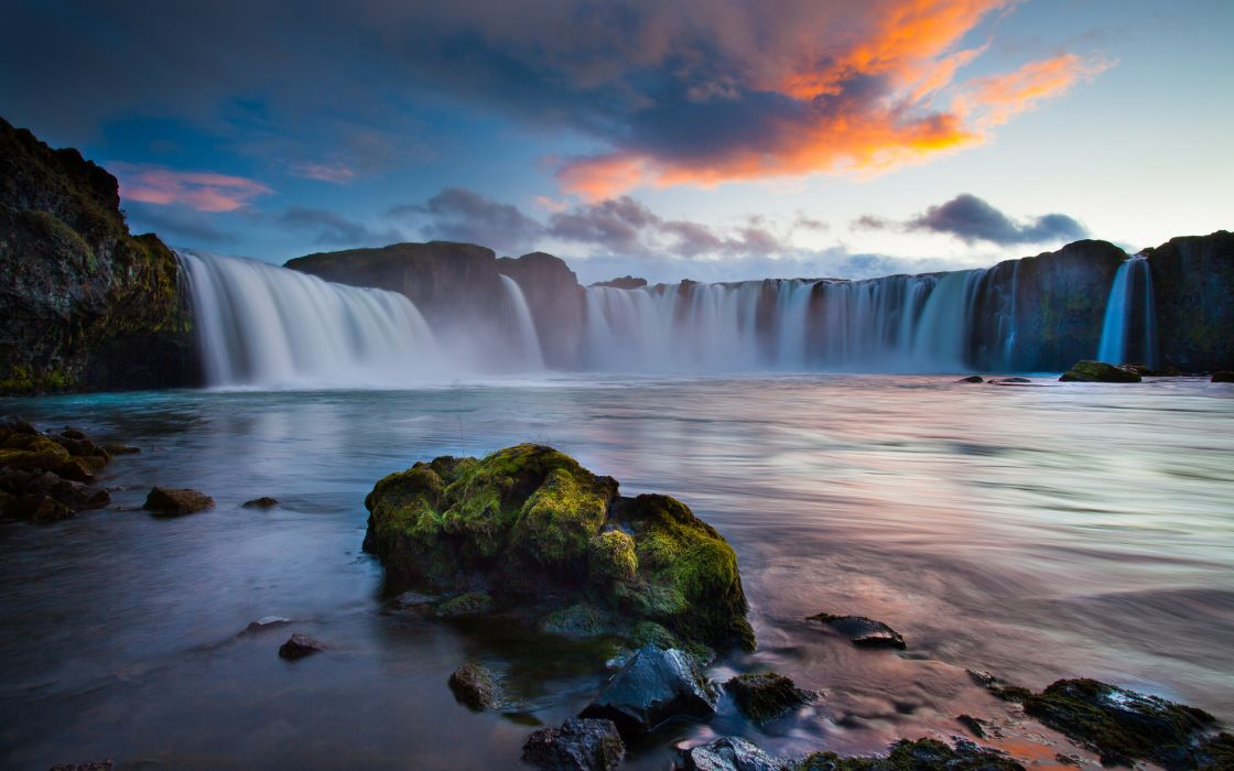 nature waterfall landscapes river pool spray drops cliff sky clouds sunset sunrise wallpaper