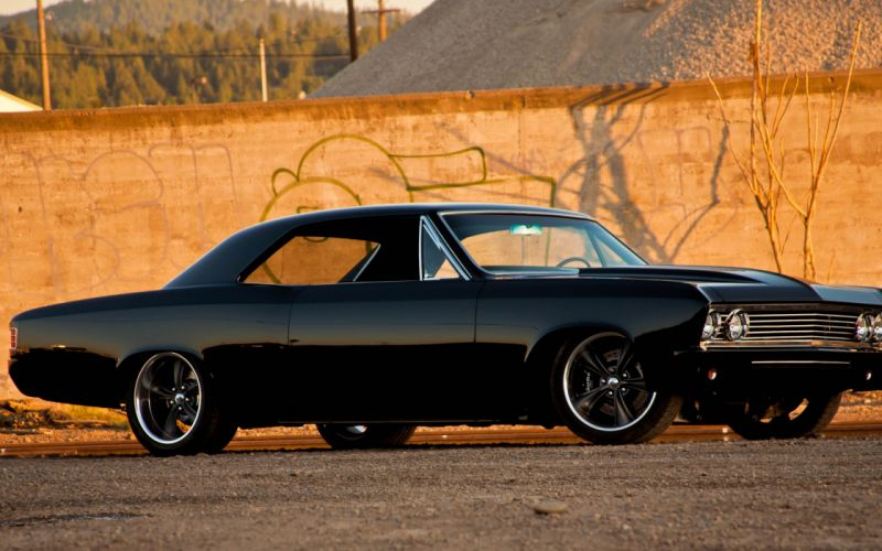 Chevrolet Chevelle SS vehicles cars auto retro classic muscle tuning hot rod wheels stance black wallpaper