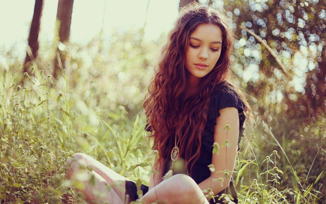 women females girls babes models sensual brunette mood bokeh face eyes jewelry grass trees wallpaper