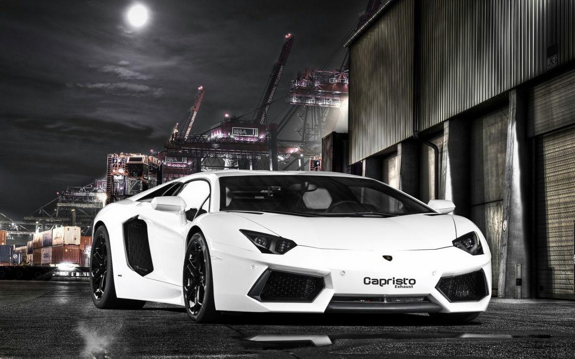 Capristo Lamborghini Aventador LP700-4 vehicles cars auto white night architecture crane port dark wallpaper
