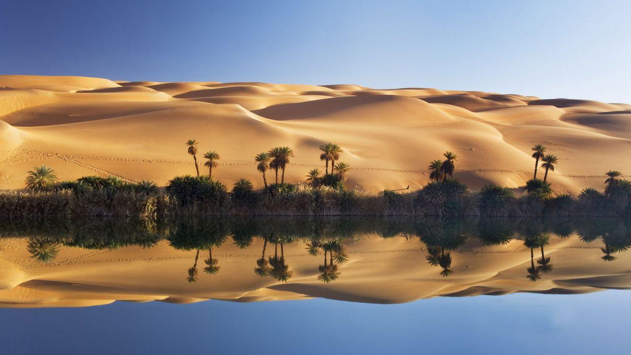 nature landscapes dunes sand desert tropical hills lakes water reflection footprints tracks prints shore trees palm wallpaper
