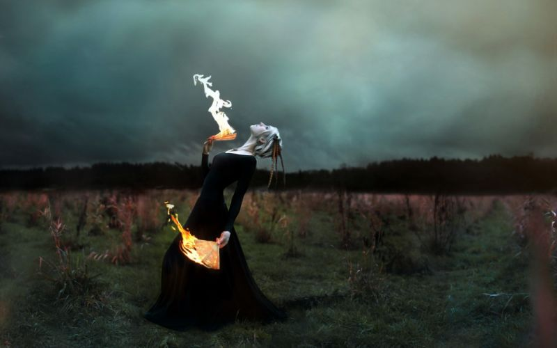 manipulation cg digital art photography occult witch dark fire flames fan dance ritual mood emotion situation fantasy gown dress gothic pale nature landscapes fields grass trees sky clouds storm wallpaper