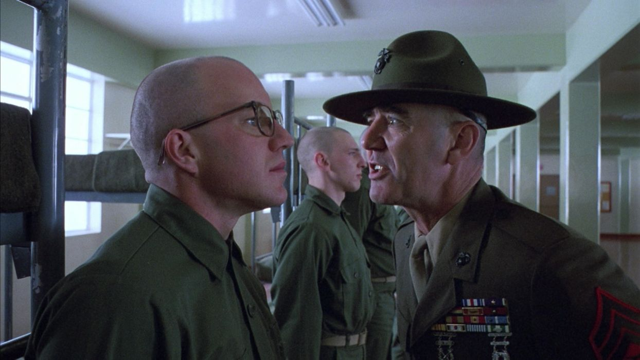 full metal jacket entertainment movies military soldiers actors drill uniform glasses mood emotion scared angry scream wallpaper