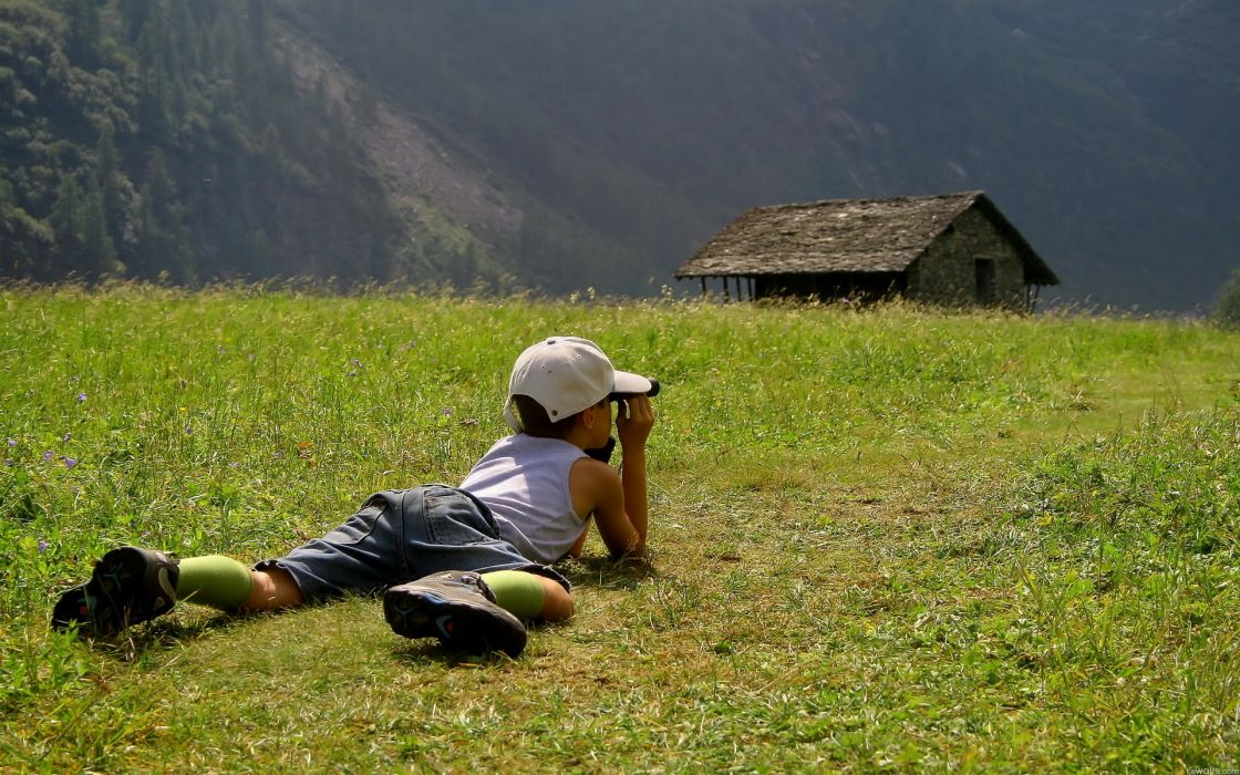 people children cute nature landscapes grass mountains trees architecture buildings houses view scenic wallpaper