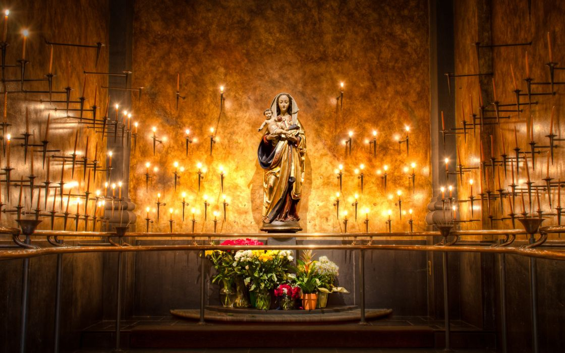 Virgin Mary Church of Santa Maria Sopra Minerva candles fire flames cathedral church religion cathilic christian jesus babies room architecture flowers hdr color wallpaper