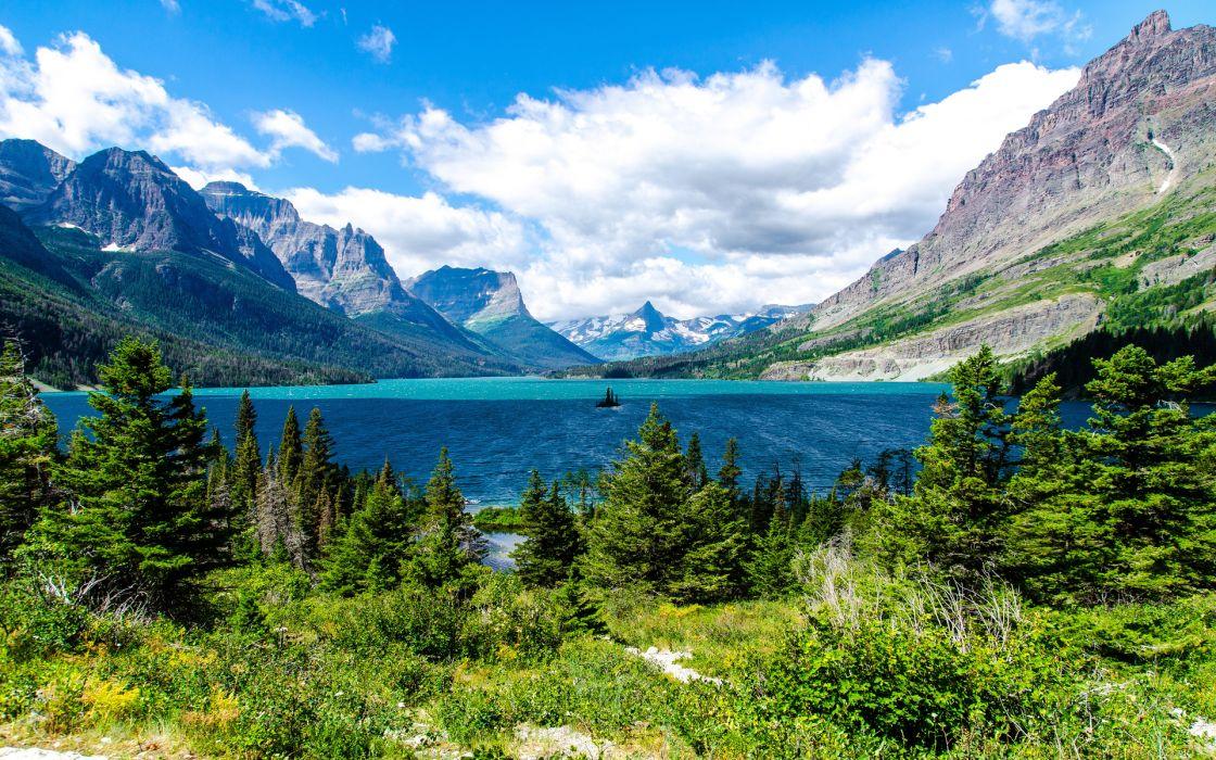 nature landscapes lakes trees forest shore mountains sky clouds scenic view wallpaper