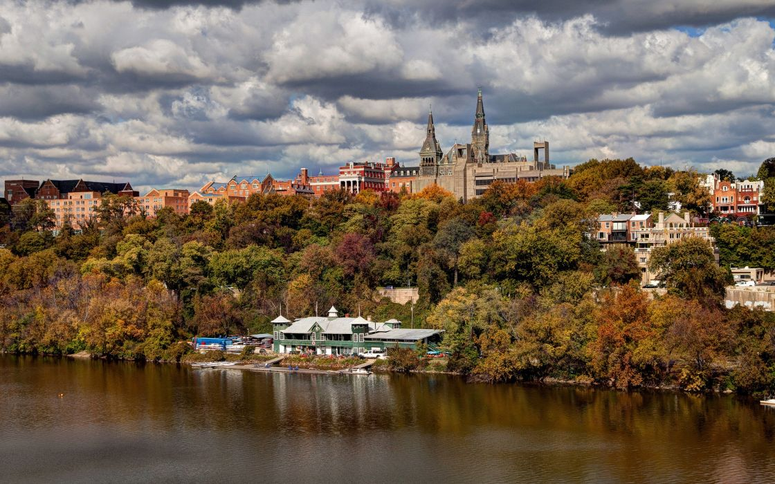Georgetown University school college world architecture buildings tower spire trees river lake shore autumn fall seasons sky clouds leaves scenic wallpaper