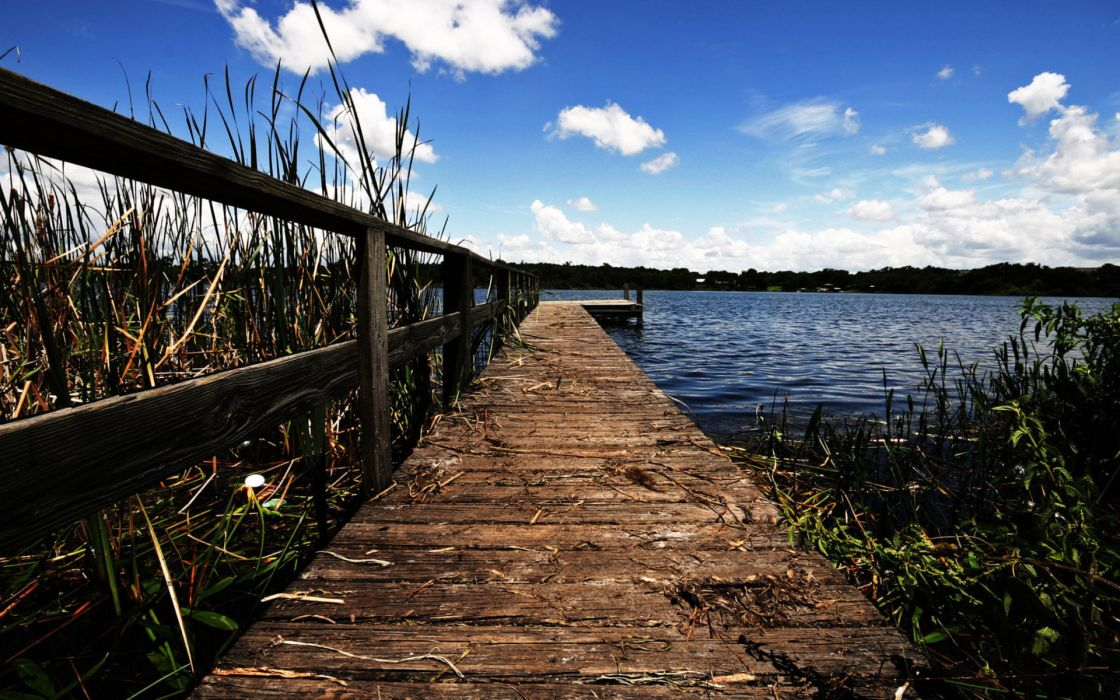nature lakes reeds grass wood architecture pier dock fence rail water sky clouds wallpaper