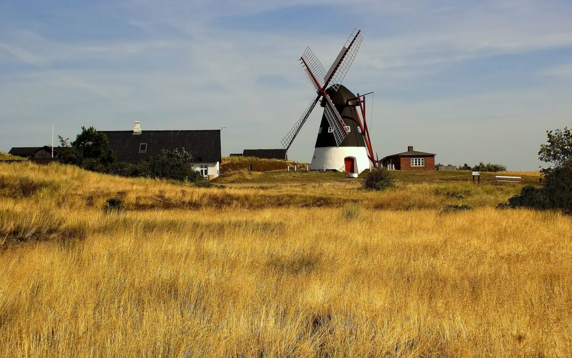 world architecture buildings houses farm windmill mill fan rustic houses nature landscapes fields grass sky clouds wallpaper