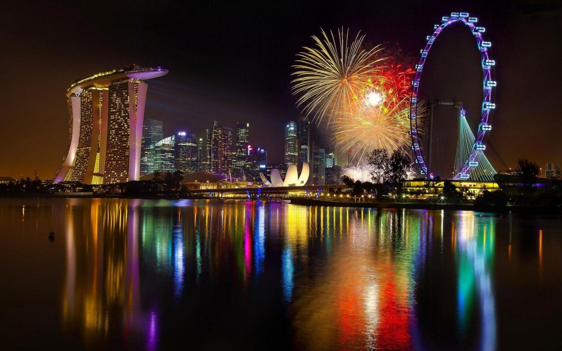 singapore world architecture buildings skyscraper night lights sign neon fireworks holiday celebration festive lakes water pool reflection bay harbor ferris wheel color sky wallpaper