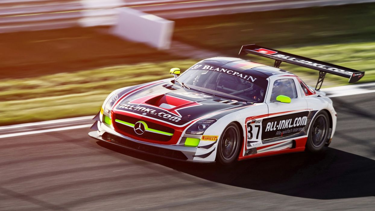 Mercedes SLS Gullwing AMG Race Car Motion Blur racing track roads wings vehicles cars auto color wallpaper