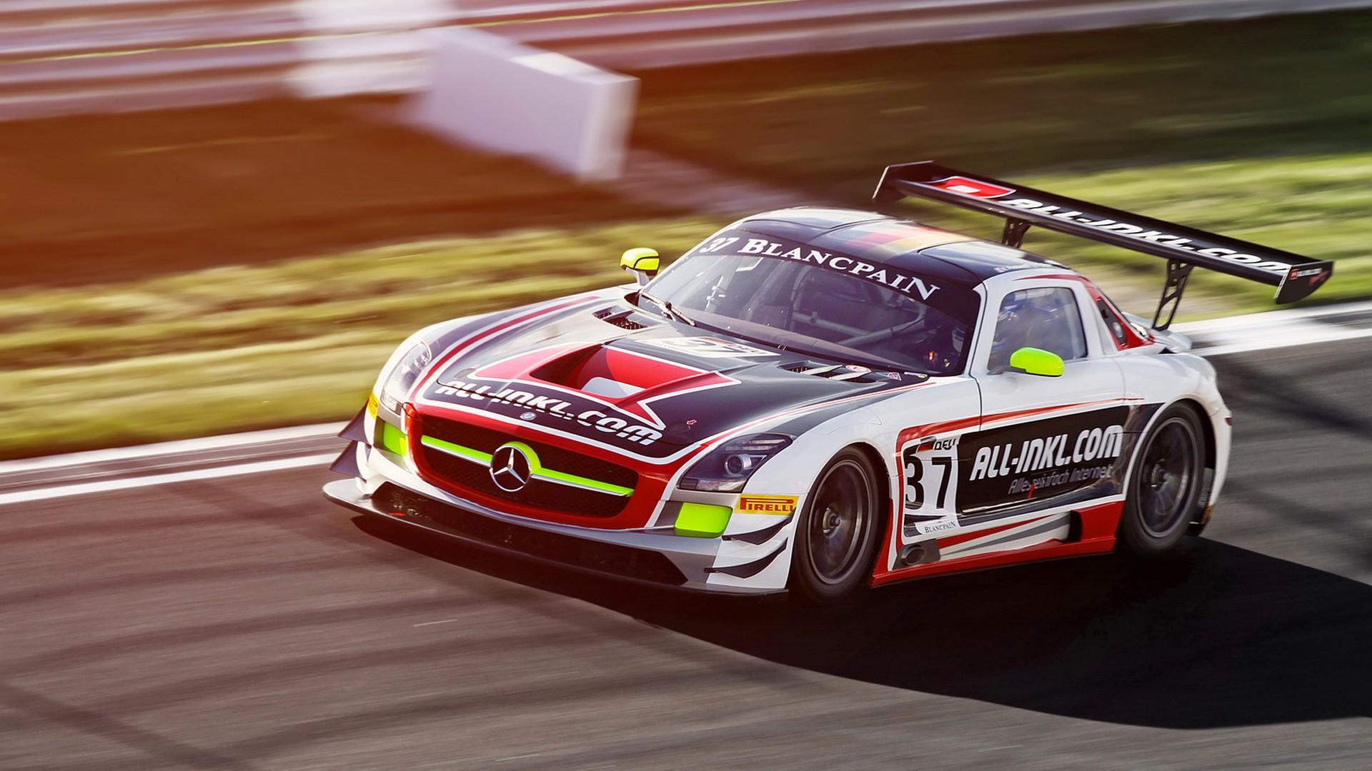 Mercedes SLS Gullwing AMG Race Car Motion Blur racing track roads ...