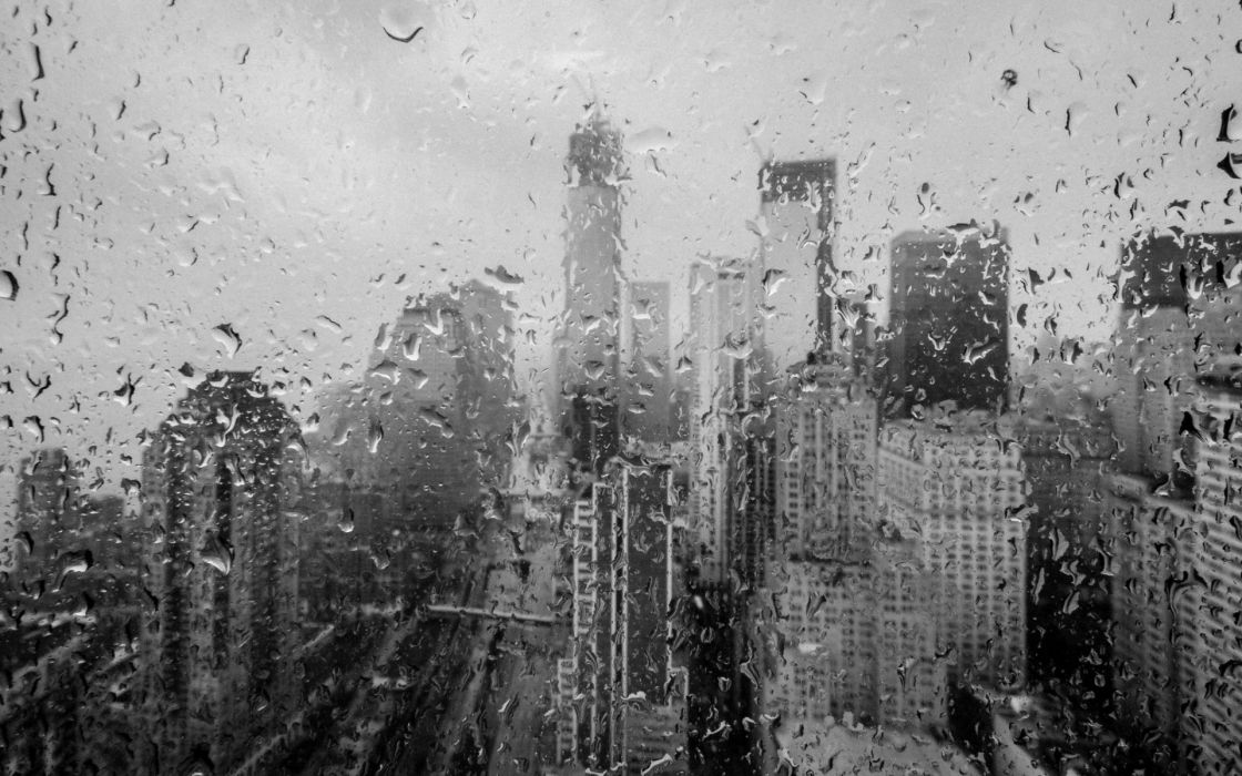 Huricane Sandy new york world architercture buildings skyscrapers rain storm black white disaster weather drops water wallpaper