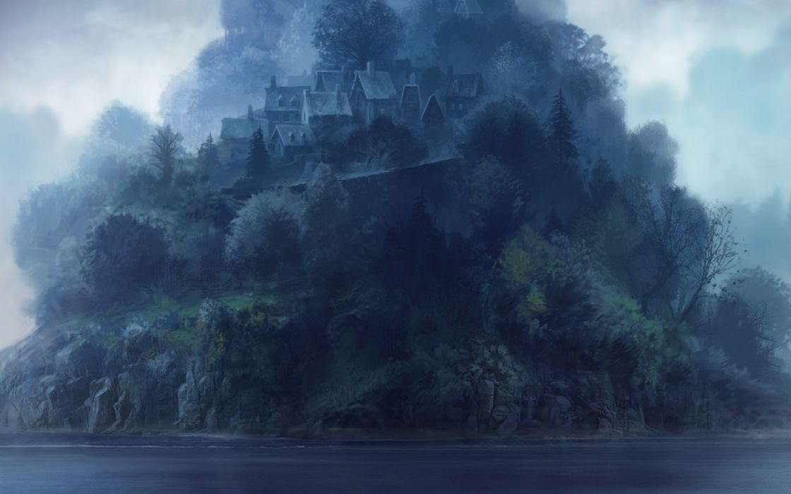 The Mystery Case Files: The Malgrave Incident fantasy nature landscapes island shore mountains trees forest woods architecture buildings town cities castle art artistic paintings wallpaper