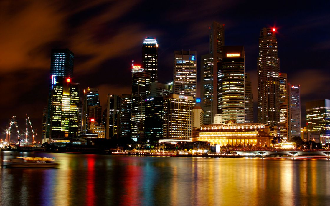 Singapore port harbor bay sound water reflection hdr world cities architecture buildings skyscrapers skyline cityscape scapes night lights window sign neon color wallpaper