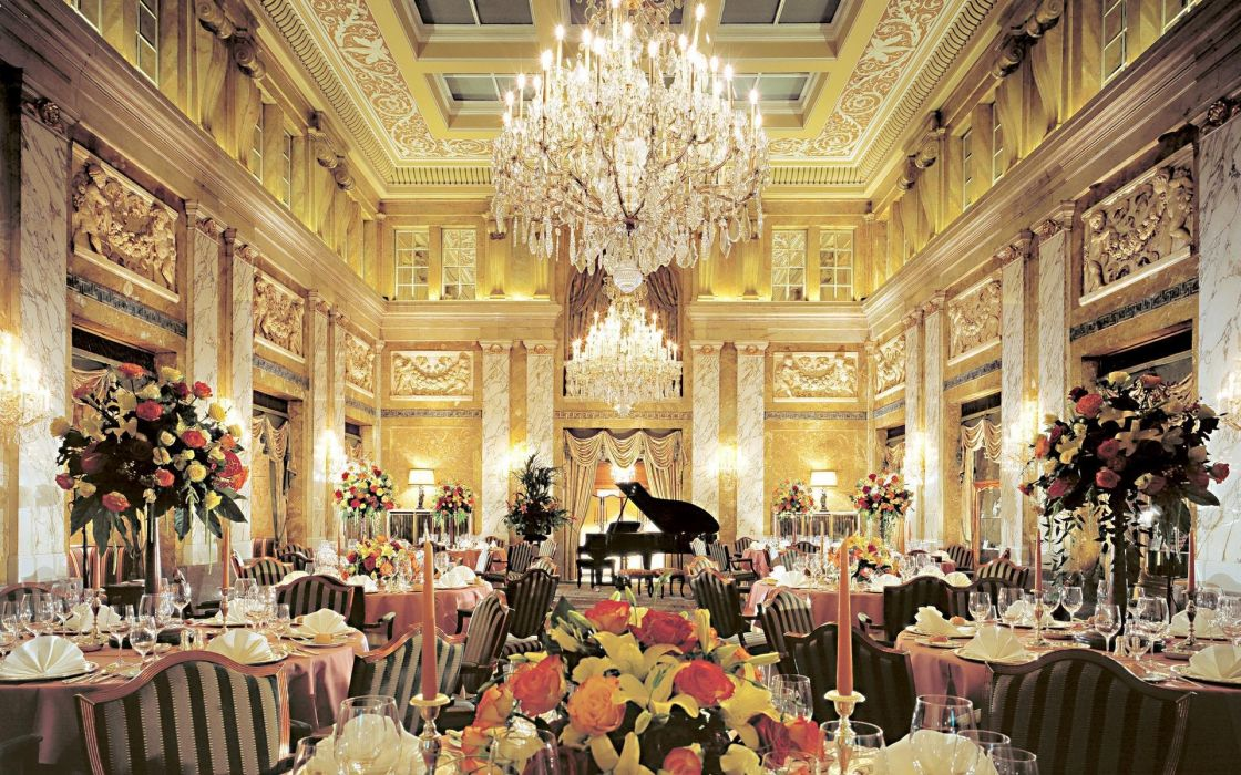 world architecture room furniture dinner ball Chandelier cups ornate detail classic photography chair flowers lights lamps door wallpaper