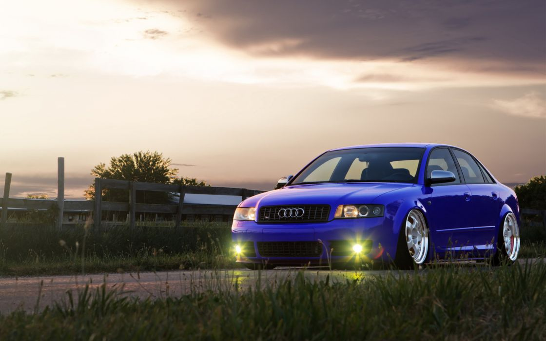 Audi vehicles cars stance tuning low wheels lights roads sky clouds grass wallpaper