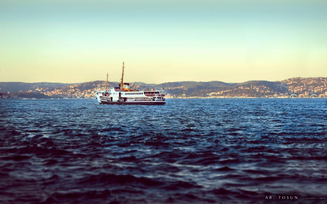vehicle watercraft boat ship tilt shift water waves ocean sea lakes shore coast landscapes seascape sky wallpaper