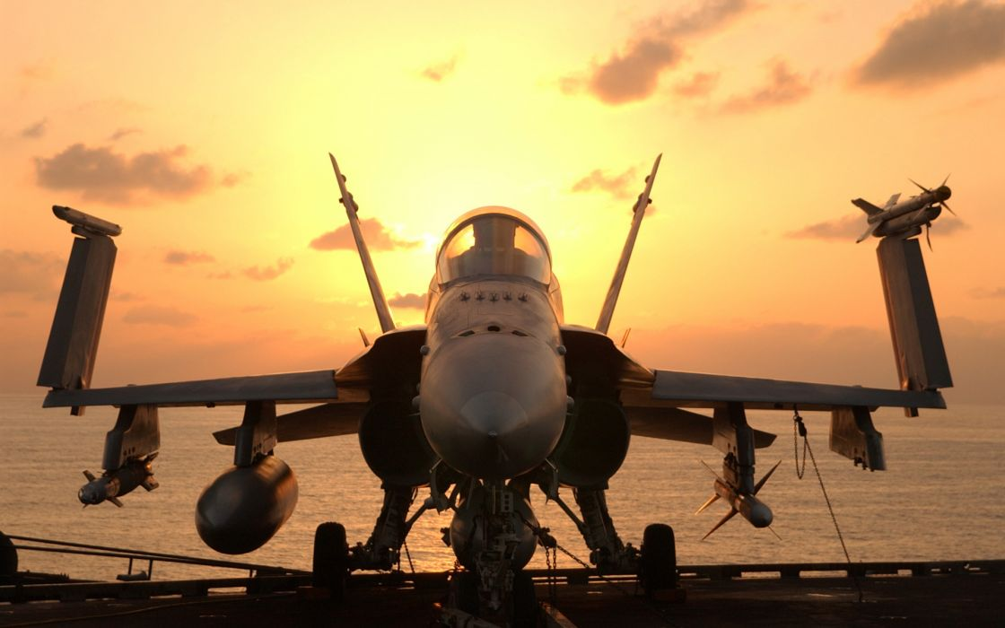 vehicles aircraft airplanes plane wings ships boats carrier ocean sea seascape weapons cannon bombs missile sunrise sunset sky clouds wallpaper