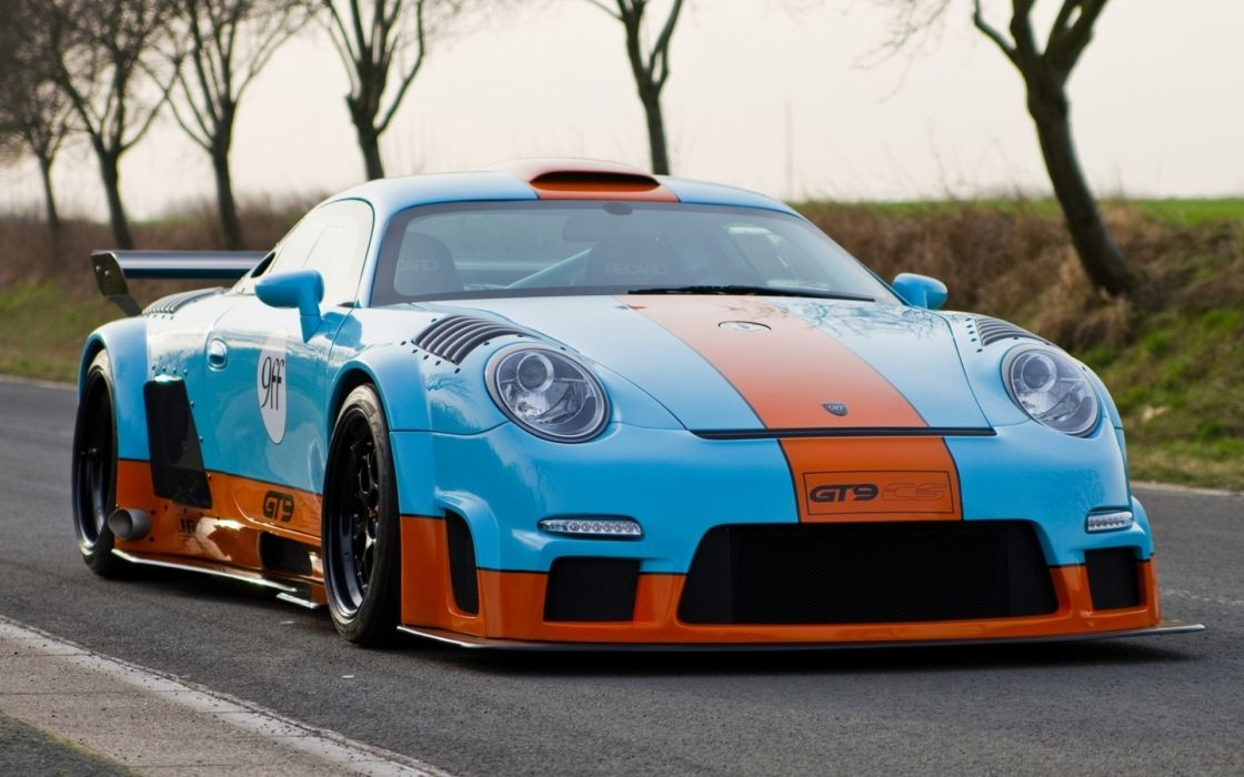 9ff GT9-CS Porsche 911 997 turbo racecar race racing color stripe wheels tuning roads wings stance custom import wallpaper