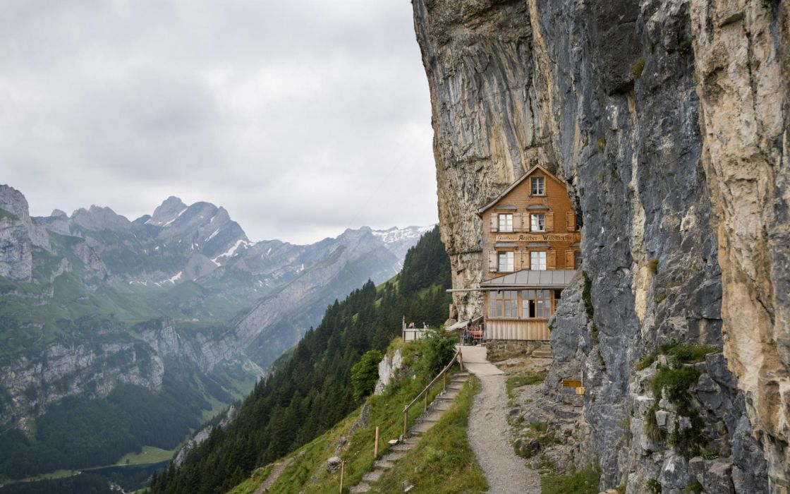 world architecture buildings houses resort path trail sidewalk stairs window scenic view nature landscapes mountains trees forest sky clouds peaks cliff stone rock wallpaper