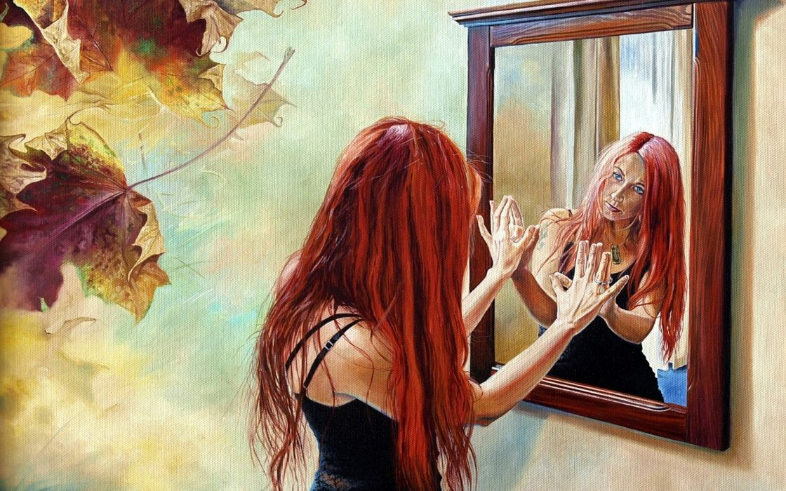 abstract paintings art artistic oil mood emotion expression redhead mirror reflection glass leaves autumn fall women females girls situation mental angry sad sorrow wallpaper