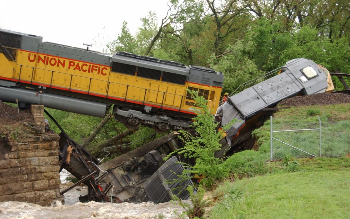 vehicles trains railroad engine locomotive accident wreck ruindestruction architecture bridges trees rivers water wallpaper