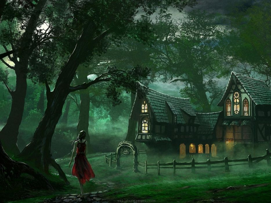 art artistic paintings fantasy mood trees forest nature women females girls architecture buildings cottage window lights houses landscapes leaves  wallpaper