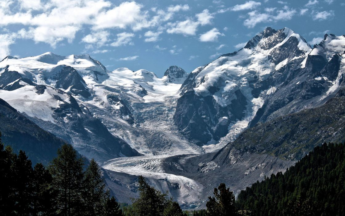 nature mountains glacier ice snow peaks trees forest sky clouds scenic wallpaper